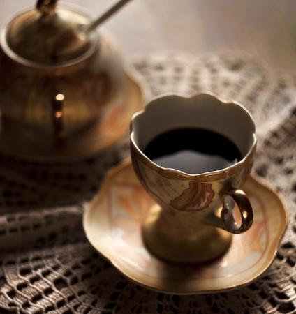 black coffee in retro luxury set Stock Photo