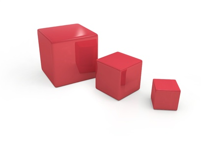 three red cubes on white background photo