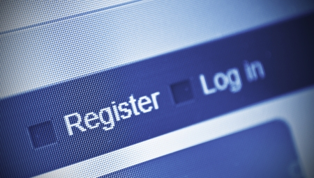 logon: close-up of computer screen and register button