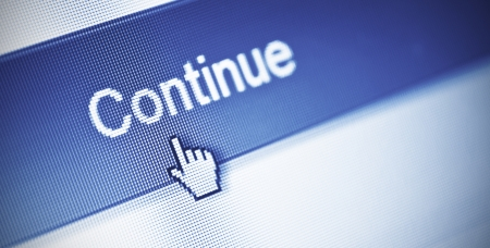 close-up of continue button on computer screen Stock Photo - 18133392