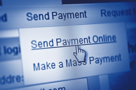 Payment button - mouse click on computer screen