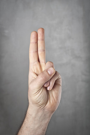 auction win: Hand with two fingers up