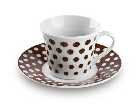 polka dot coffee cup on white background Stock Photo