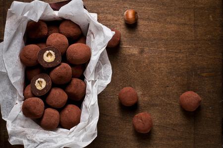truffles of slightly bitter chocolate with hazelnut center Stock Photo