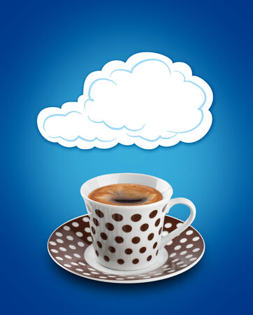 cloud bubble over a coffee cup photo