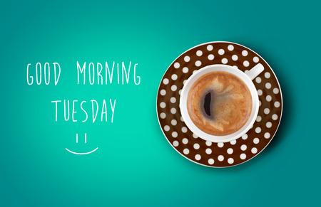 fresh morning: Good morning coffee cup Stock Photo