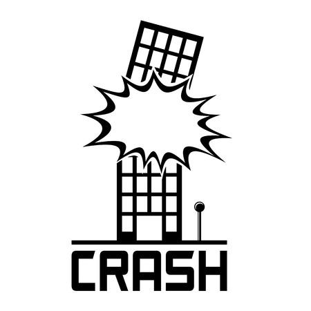 Icona Crash Building. Esplosione in un edificio. Vettoriali