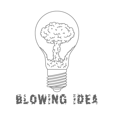 Lamp Bulb with nuclear explosion inside. Blowing Idea. Flat symbol.