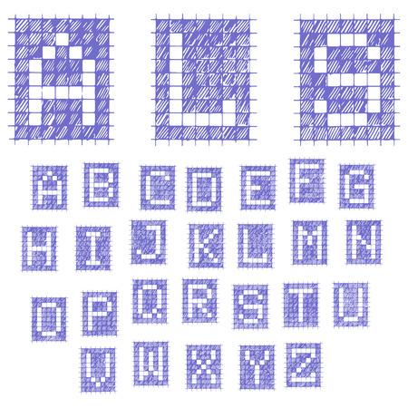 Notebook font alphabet. Blue Ink Pen. Ilustracja