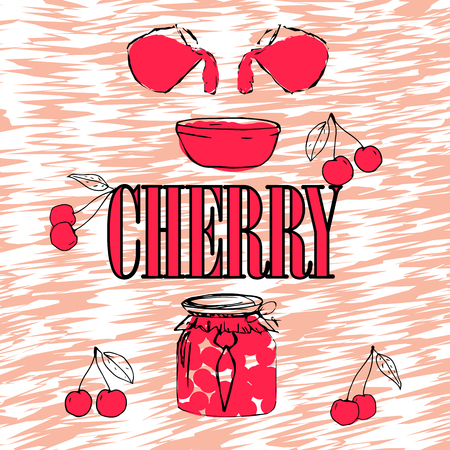 Cherry Jam. Jar with Cherry Jam. Pink jelly. Bright poster with berries.