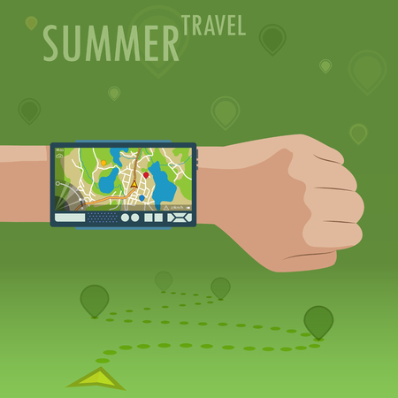 Navigation device on wrist. Hand with navigator. Smart GPS tool for summer travel.