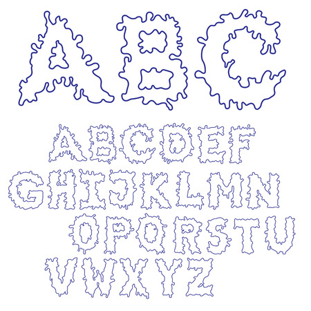 Blob Ink Font. Outline hand drawn sketch font. Blue alphabet set.