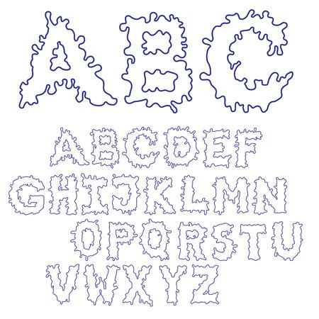 wry: Blob Ink Font. Outline hand drawn sketch font. Blue alphabet set.