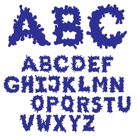 Blob Ink Font Filled. Hand drawn sketch font. Blue alphabet set.