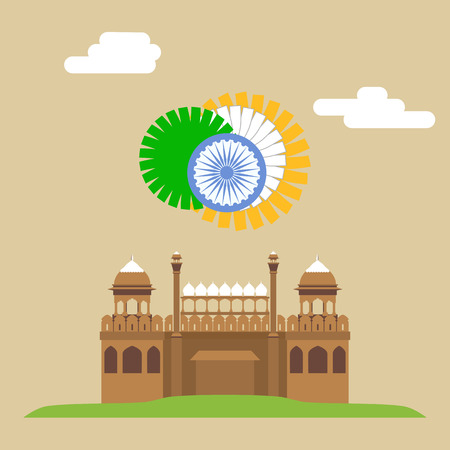 Red fort. Lal-Qila. Famous Indian Landmark