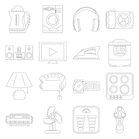 home appliance: Home Appliance Line Art Icon Set Dashed