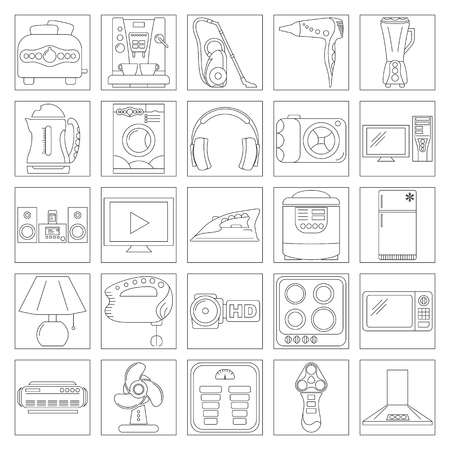 Home Appliance Line Art Icon Set