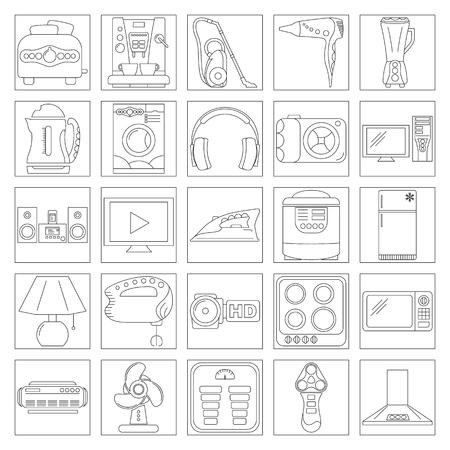 iron fan: Home Appliance Line Art Icon Set