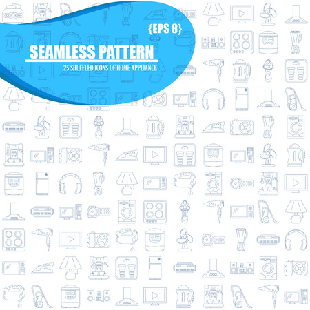 home appliance: Home Appliance Line Art seamless pattern