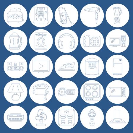 loud speakers: Home Appliance Line Art Icon Set