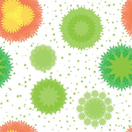 Floral seamless pattern top view plants and flowers.