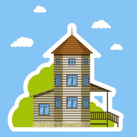 Flat house sticker style on blue background Ilustracja