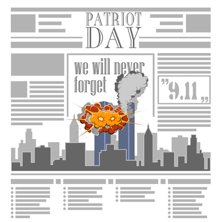 9 11: USA memorial day 9th of september. Patriot day 9 11. Newspaper