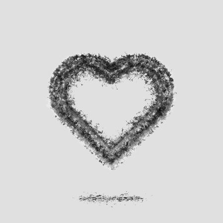 Ash heart silhouette. Broken relations. Dead Love