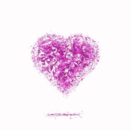 Ash heart pink color. Blooming love emblem
