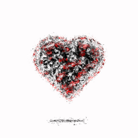 dying: Ash dark heart with red sparks. Bad relations. Dying Love