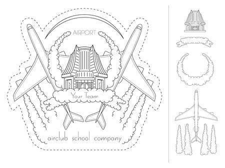 Airport, airplane, pilot school air club emblem EPS 8 Ilustracja