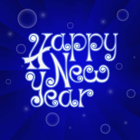 Happy New Year handwritten poster on blue background.