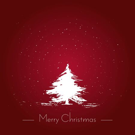 Merry Christmas watercolor brush style hand drawn vector illustration.