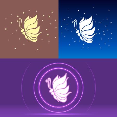 Butterfly logotype wings looks like lotos vector illustration EPS 10 Ilustracja