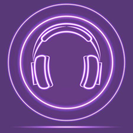 Futuristic Neon Glowing Headphones Icon Sensor style. Vector EPS 10 Ilustracja