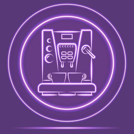 Futuristic Neon Glowing Coffemaker Icon Sensor style. Vector EPS 10 Ilustracja
