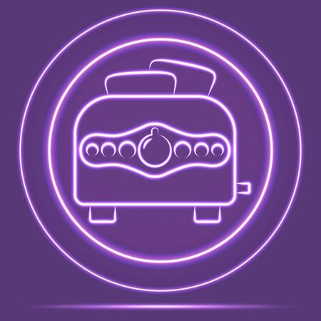 Futuristic Neon Glowing Toaster Icon Sensor style. Vector EPS 10