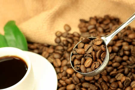 coffee spoon: coffee beans