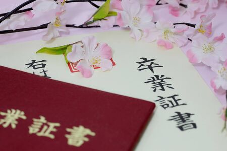 This is a certificate of the Japanese school. Stock Photo - 11763962
