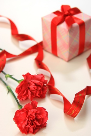 I attached a present to a carnation and took it in a white background.  Stock Photo