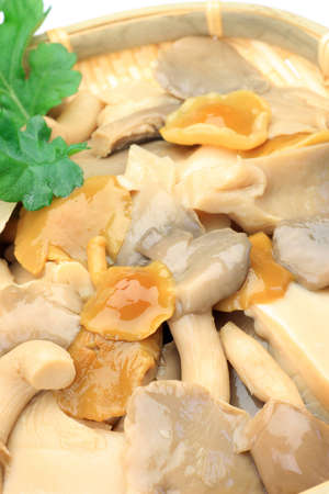 This is boiling in water of the mushrooms  It is Japanese food