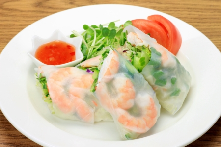 This is called summer roll by Vietnamese food. Stock Photo