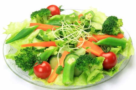 I took salad in a white background.