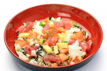 fishery products: This is called chirashi-sushi with a Japanese dish.