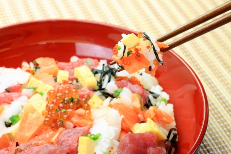 fishery products: This is called chirashi-sushi with a Japanese dish  Stock Photo