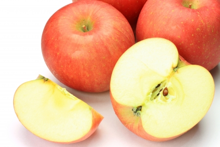 an apple in a white background.