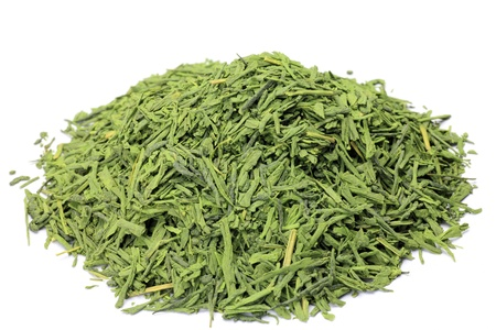 This is Japanese tea  Powdered green tea is covered a tea leaf with