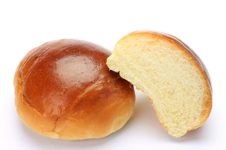buttered: I took  buttered rolls in a white background. Stock Photo