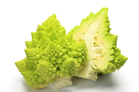 romanesco: I photographed broccolo romanesco in a  white background.