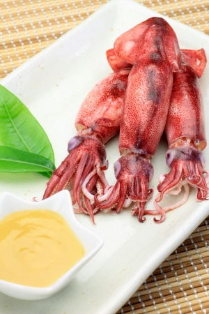 fishery products: This is the Japanese dish which boiled a cuttlefish  I eat in vinegared bean paste  Stock Photo